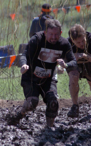 Mark running the 2013 Austin Tough Mudder. Yes, those are live electrical wires.